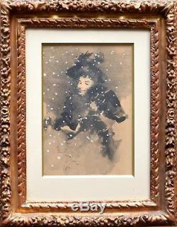 David DELLEPIANE. Marseille. Très beau portrait de femme sous la neige. Encre