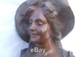 De Bruyneel -buste bronze femme art nouveau -antique-jugenstyle