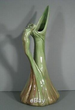 Delphin Massier Ancienne Grande Aiguière Céramique Art Nouveau Anse Femme Nue