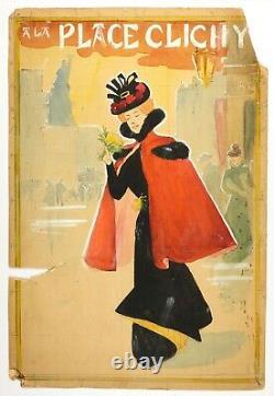 Dessin Ancien Original Art Nouveau Femme, Clichy signé