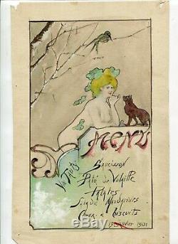 Dessin Ancien Original Art Nouveau Personnage Femme, Chat, Menu, Vin, Tauty 1901