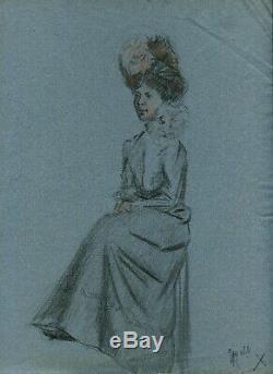 Dessin Ancien Original Art Nouveau Personnage, Femme, Portrait, Robe, Chapeau