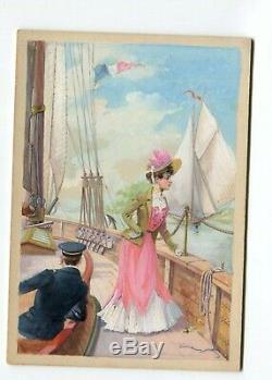Dessin Ancien Original, Illustration, Femme, Bateau, Drapeau, France, Marin