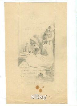 Dessin Ancien Original Personnage, Femme, Bébé, Maternité, Lait