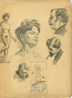 Dessin Ancien Original Personnage, Femme, Homme, Portrait, Profil