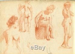 Dessin Ancien Original Personnage, Femme, Nue, Académique