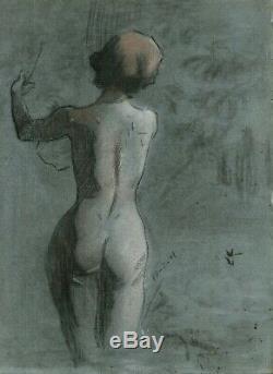 Dessin Ancien Original Personnage, Femme, Nue, Académique, Dos