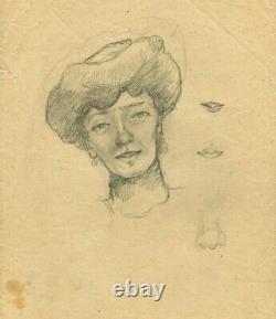 Dessin Ancien Original Personnage, Femme, Portrait, Académique