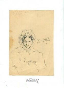 Dessin Ancien Original Personnage, Femme, Portrait, Chapeau