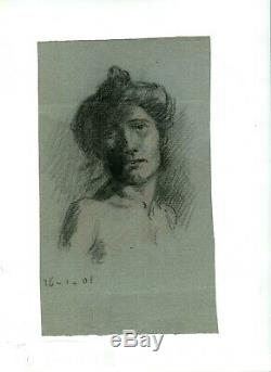 Dessin Ancien Original Personnage, Portrait, Femme, Nue, Académique