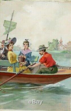 Dessin Ancien Original Personnages, Bateau, Barque, Rame, Femmes, Illustration