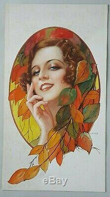 Dessin Aquarelle originale Gaspar CAMPS Espagne Art Nouveau femme Automne 1910