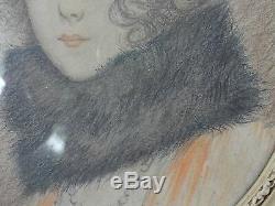 Dessin Crayon Sur Papier Portrait De Femme 1930 Signe Maurice Barre (b718)