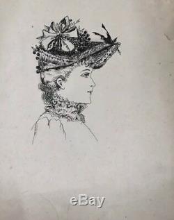 Dessin Encre Sur Papier Femme Châpeau Costume Art Nouveau Belle Epoque 1900