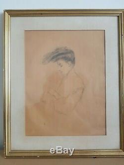 Dessin Jeune Femme Art Nouveau Belle Epoque 300 X 230 Cadre Helleu
