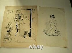 Dessin Original Art Nouveau H D'Atles 1905 Femme Nue 2 Militariat 65è Régt Infan