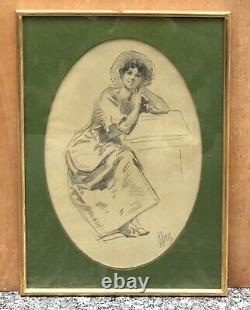 Dessin Original Jules CHERET (1836-1932) Portrait Femme Art Nouveau Encadré