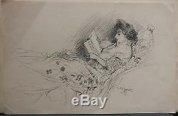 Dessin Original LUBIN DE BEAUVAIS XIXe Femme Lisant Art Nouveau LB8