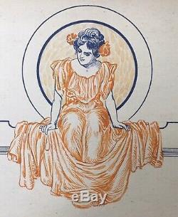 Dessin Original Portrait Femme Art Nouveau Robe Mode Fleur étude publicité 1907