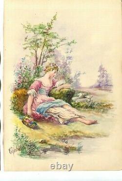 Dessin ancien Original signé Femme assise près de l'Eau, avec des Fleurs