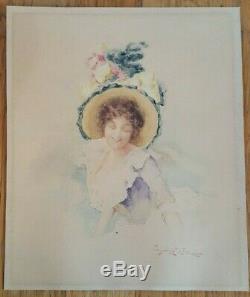 Dessin aquarelle femme élégante chapeau fleurs Léon Louis Mahelin Art Nouveau