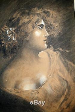 Dessin-art Nouveau-portrait-jeune Femme-charles Auguste Edelmann-visage-fusain