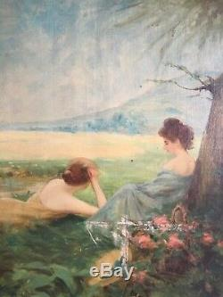 Deux femmes Allongées Art Nouveau Fin XIXème