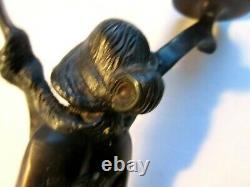 Double Bougeoir bronze, Art Nouveau Jugendstil, Femme tenant 2 bras de lumière