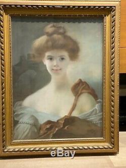 Ecole Française Splendide Pastel Art Nouveau Signé Jeune Femme Circa 1900
