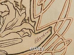 Édouard GENDROT dessin aquarelle tableau portrait fille femme enfant Art Nouveau