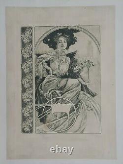 Elégante au bouquet Mucha vers 1900 Affiche Originale Art Nouveau Femme Fleur