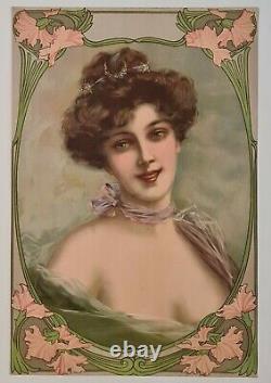 Elégante au châle vers 1900 Chromolithographie Art Nouveau Femme