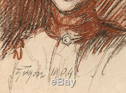 Elen GUYON dessin sanguine fusain portrait jeune femme Art Nouveau 1900 tableau