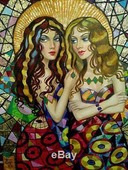 Elena KHMELEVA (Deux jeunes femmes à l'ombrelle) Huile sur toile