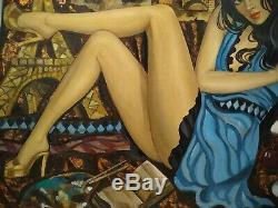 Elena KHMELEVA Huile sur toile peintre russe, (Jeune femme élégante)