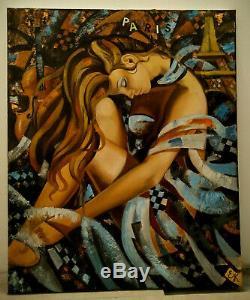 Elena KHMELEVA (Jeune femme au viollon, Paris, tour Effeil) Huile sur toile