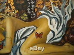 Elena KHMELEVA (Jeune femme élégante aux papillons) Huile sur toile