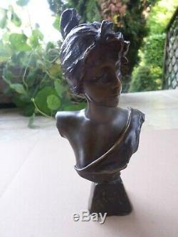 Emmanuel Villanis (1858-1914)-Alda-Buste-Bronze-femme-Art Nouveau-Jugenstyle
