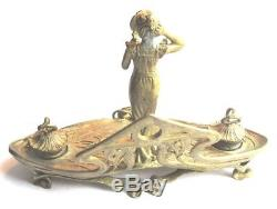 Encrier de bureau bronze doré, Art Nouveau Jugendstil, Iris et sculpture Femme