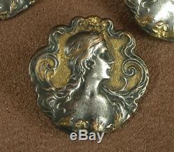 Ensemble De 4 Boutons Anciens Art Nouveau Bronze Argente Et Dore Decor Femme