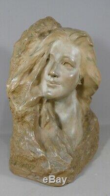 Enzo Sighieri, Femme Pensive, Sculpture En Terre Cuite Art Nouveau, Vers 1900