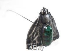 Epingle à Chapeau, Jugendstil Art Nouveau, Insecte Papillon Pierre Verre Verte