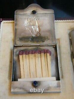 Etui à Cigarette et Porte Allumette Art Nouveau Argent Plaqué Femme au bain