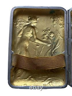 Étui à Cigarettes Métal Argenté Signé DROPSY Art Nouveau Jugendstil Femme Fleurs