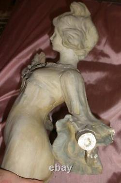 FLORAN Statue céramique / terre cuite 1900 Femme & fleur art nouveau à restaurer