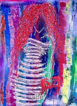 Femme 26 peinture street art moderne contemporain sandra cremonese 60x80 cm