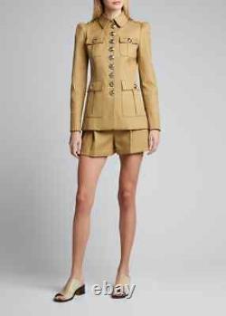 Femme Coton Veste Militaire Kaki Officier Blazer Designer Coat-LE-120