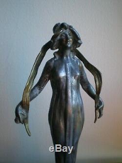 Femme Fleur 1900 Statue Danseuse Art Nouveau Dlg Mucha Metal Argente