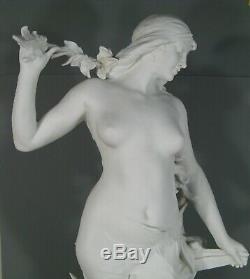 Femme Fleur Ancienne Sculpture Art Nouveau Biscuit De Porcelaine Signée E. Drouot