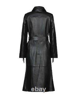 Femme Véritable Cuir Trench-Coat véritable Peau d'agneau Veste Longue -LE-61